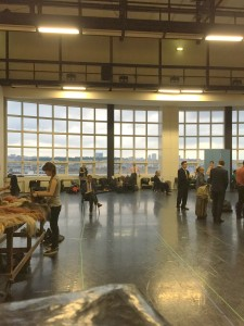The rehearsal hall where initial costuming and makeup took place, with the Paris skyline in the background